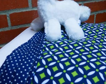 NAVY BABY BLANKET, Baby shower gift, Cotton baby blanket, Neutral pattern baby blanket