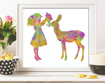 Girl nursery decor Deer nursery wall art print kids gift baby girl child art deer nursery art Gift 8X10 colorful girl and baby deer