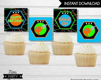 Laser Tag Birthday Party Printable Cupcake Toppers by Fara Party Design |Laser Tag Party|  Instant Download