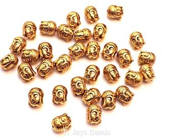 20 x Gold Metal Buddha Head Beads