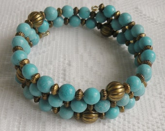 Blue-Green Magnesite Wrap-Around Bracelet with Antiqued Gold-Plated Brass Beads
