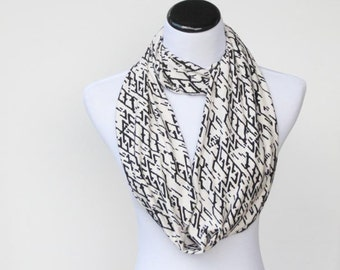 Ivory white black infinity scarf soft jersey knit circle scarf loop geometric abstract scarf snood scarf - gift idea for her