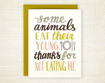 Father's Day Card, Funny Father's Day Card, Mother's Day Card - Some Animals