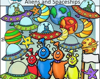 Aliens and Outer Space Clip Art Set - Chirp Graphics