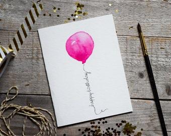 Happy Birthday Card, Pink Balloon, Birthday party, Card for Birthday, Handmade Happy Birthday Card, Greeting Card