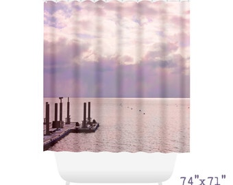 Dreamy Bokeh Shower Curtain, Lake Front Decor, Retro Home Decor, Tahoe, Pink Purple Sunset Decor, Master Bath Decor, Feminine Decor