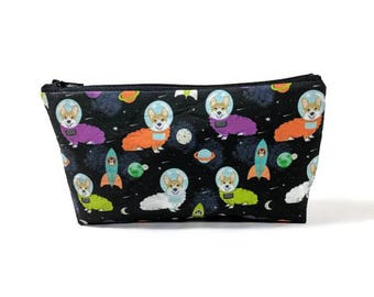 Corgis in Outer Space, Makeup Bag, British Corgi Bag, Makeup Pouch, Zipper Pouch, Zipper Bag, Dog Cosmetic Bag, Dog Zipper Bag, Dog Pouch