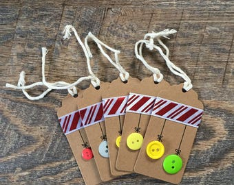 Button Ornament Gift Tags (set of 5)