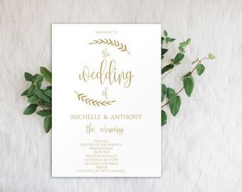 Wedding Program Printable, Gold Wedding Programs, Editable Program, Wedding Programs Instant Download, Program Template, Gold Program, 0015
