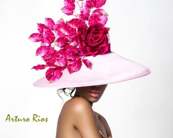 Pink Derby hat with ombre leaves, Kentucky derby hat, Pink Derby hat