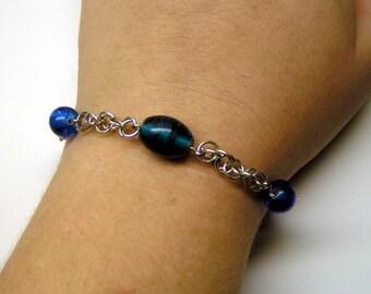 Blue Bead Chain Mail Bracelet