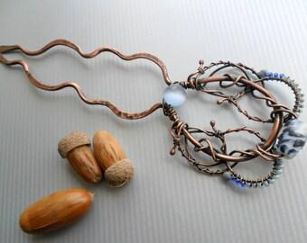 Bridal hair fork Copper hair wire Hair acessories Metal hair comb Hair jewelry Blue hair pin Lampwork hair stick Wire wrapped hair fork