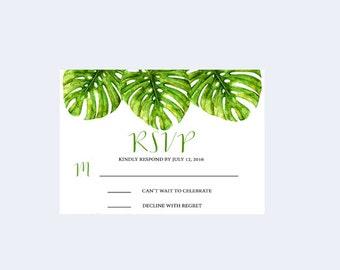 Printable RSVP card, Tropical Rsvp card, Hawaii rsvp card, Destination Wedding RSVP card, Beach wedding rsvp card, Palm leaf Rsvp card Green