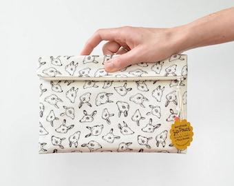 Quirky Animal Heads Large Flat Fold-Over Zipper Pouch Clutch   Original Fabric Design   Cream/Brown