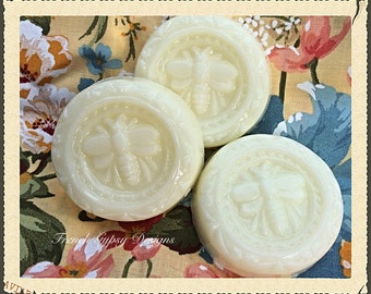 Handmade Goat Milk Soap in Guest Size Honeybee Design (Set of 3)
