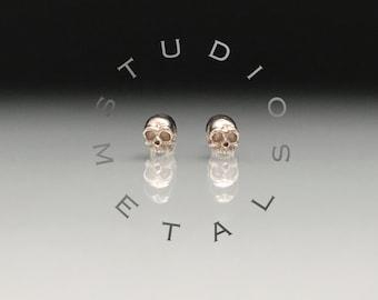 Tiny Gold Skull Stud Earrings, Skull Earrings, White Gold Skull Studs, Solid Gold Skull Earrings, Small Gold Stud Earrings, Baby Skull, E597