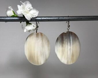 Hand Carved of Horn Earrings