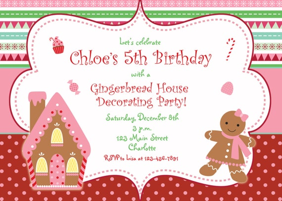 Gingerbread house Christmas party invitation Christmas
