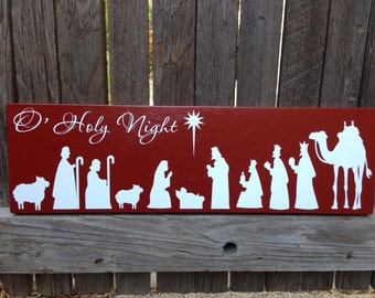 Christmas Decor Holiday Decor Mantle Decor Christmas Mantle Christmas Decoration Nativity Scene Christmas Sign Holiday Decoration Wood Sign
