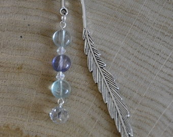Small silver feather bookmark with green, purple, and clear beads