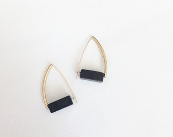 Ettore earrings - matte black onyx block