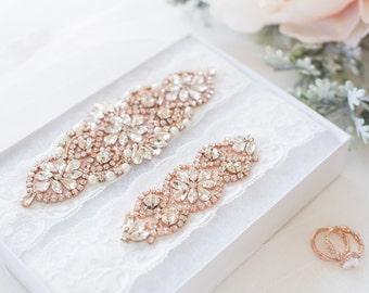Rose Gold Garter Set - Wedding Garter - Prom Garter - Crystal Garter - Pearl Garter Set - Something Blue