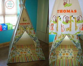 Teepee made in Ireland, Kids Teepee Tent, Jungle Teepee, Safari Teepee, Toddler Teepee, Zoo, Tipi, Tepee, Large Teepee, 100% Cotton Canvas