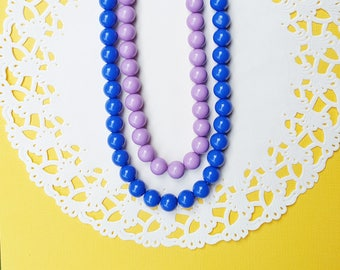 Chunky Bead Necklace, Light Purple Necklace, Royal Blue Necklace, Rockabilly Gumball Necklace, Gothabilly Necklace, Mother's Day Gift