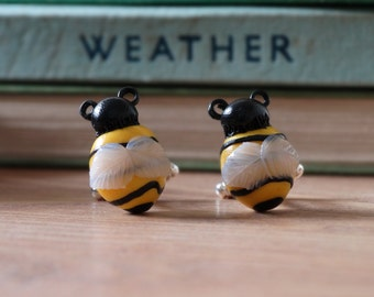 By the Shed Bee Cufflinks - Rhodium Plated - Yellow Black - Bumble, Insect, Wasp - Floral, Flowers, Allotment, Vegetarian, Gardening - Shirt