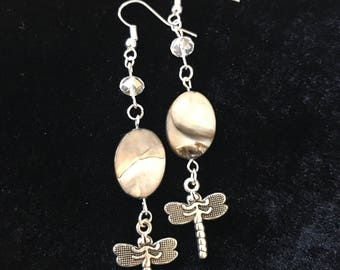 Mother of pearl drop dangle earrings dragonfly charm crystal
