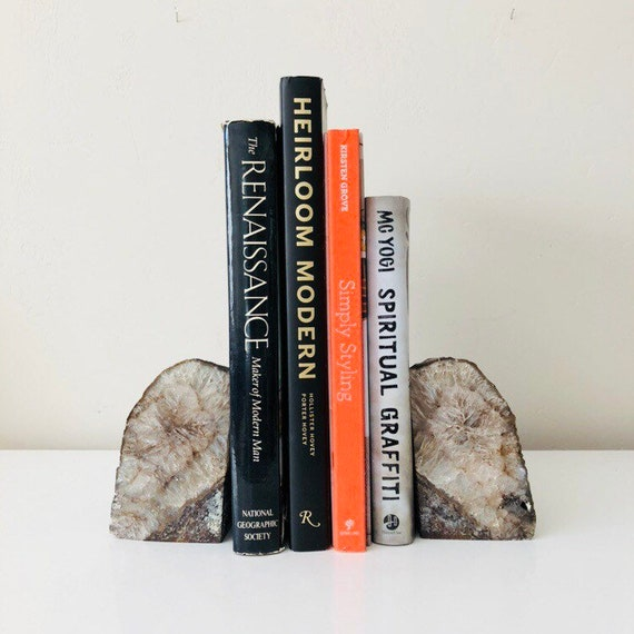 Natural Geode Bookends Black Agate Rock Crystal Half Quartz Bookend Gray Stone Boho Decor