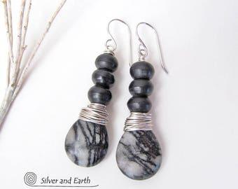 Zebra Jasper Earrings, Sterling Silver Wire Wrapped Stone Earrings, Gray Black Earrings, Earthy Natural Stone Jewelry, Black Silver Earrings