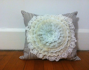 Handmade - Repurposed/ Recycled Vintage White Lace and Ticking Flower Pillow