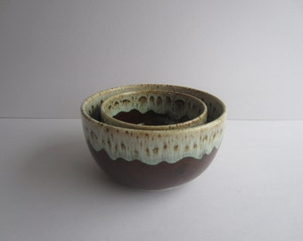 """Canonsburg Pottery """"Brown Drip, Green Tones on Edge""""—Mid Century- Set of 2  Mixing, Nesting Bowls"""