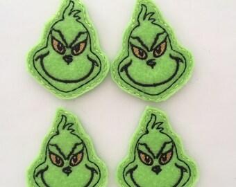 Mean One Feltie Set of 4 - Animal Feltie - Green  Feltie - Dr Suess Inspired