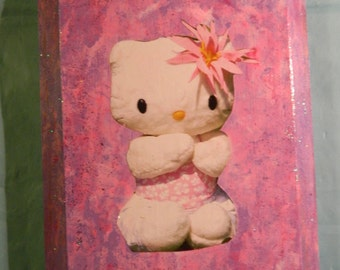 Hello Kitty , decoupaged, wooden wall plaque