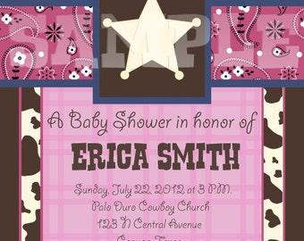 Custom Lil Cowgirl Baby Shower Invitation