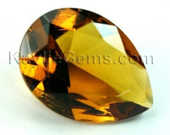 Glass Jewel 18x25mm TearDrop Faceted Diamond Cut Pointed Back, Unfoiled - Colorado Topaz BC508 - 1pc