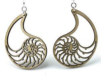 Nautilus Shell Earrings - Wood Earrings