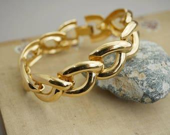 Vintage Monet Chain Link Gold Bracelet