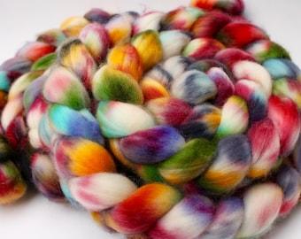 """Hand painted superwash merino/nylon spinning fiber/roving in """"Summergarden"""""""