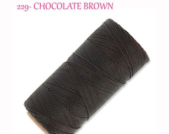 LINHASITA Waxed Polyester Cord for Micro Macrame 229 Chocolate Brown