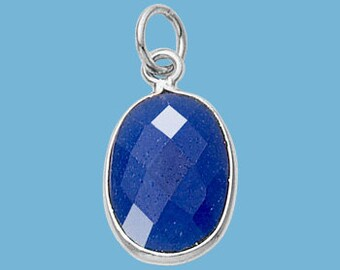 Oval Pendant, Blue Sapphire, Faceted, Sterling Silver Bezel, 1-ring, 10x14mm, 2-sided, September birthstone