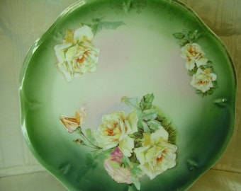 Charger Plate Tray Platter*Mignon Z.S. Bavaria*Roses*12.5 CHARGER*Gold Etching*Rose Motif*CABINET Plate