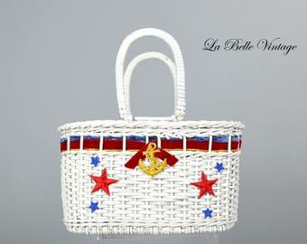 Nautical Wicker Handbag Vintage 60s Novelty Basket Purse