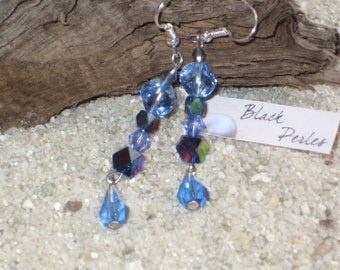 And blue iridescent glass bead earrings