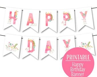 Happy Birthday Banner, Bunny Birthday Banner, Pink 1st Birthday Bunting, 2nd, 3rd Birthday Banner, Bunny Bunting, Instant Download 1516pink
