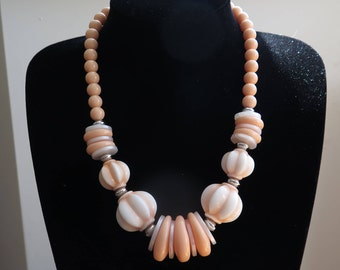 Vintage Lucite Necklace Statement Necklace In Peach Signed St. Micheal, Marks And Spencer