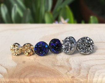 Faux Druzy Stud Earrings. 3 Pair Set of Glitter Posts, Galaxy Collection - Dark Silver, Black, Purple, Blue, and Gold Metallic