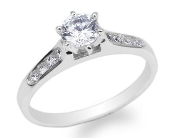 JamesJenny Womens 10K/14K White Gold 0.55ct Round CZ Engagement Solitaire Ring Size 4-10
